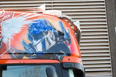 Megatron! Its airbrush art work is second to none! Built on a Scania, it's the largest vacuum tanker in the UK!
