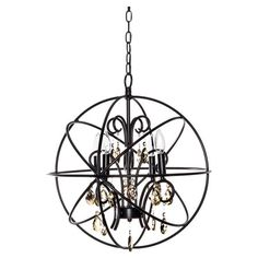 Showcasing an openwork metal frame and draped crystal accents, this eye-catching chandelier casts a warm glow in your entryway or den.