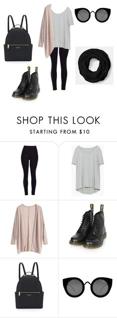 """How to wear Leggings #13."" by beggars ❤ liked on Polyvore featuring Zara, Dr. Martens, Henri Bendel, Quay, Coach, women's clothing, women's fashion, women, female and woman"