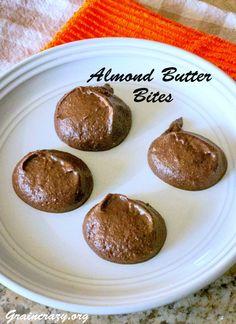 Love these. Almond Butter Bites | Grain Crazy