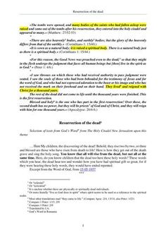 The Word of God about the resurrection of the dead Resurrection Of The Dead, New Jerusalem, Word Of God, Romania, Lord, Author, How To Get, Sayings, Lyrics