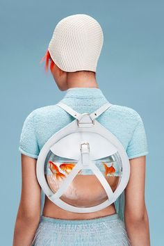 "Cassanda Verity Green's Central Saint Martins graduate collection, ""Neptune's Daughter"" blue aqua goldfish Sacs Design, Pop Design, Central Saint Martins, Retro Futuristic, Mode Inspiration, Fashion Inspiration, Fashion Details, Fashion Design, Wearable Art"