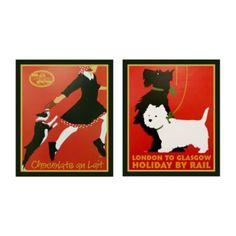 Vintage Dog Prints - Chocolate au Lait w Boston