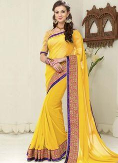 Yellow Embroidery Work Border Lace Georgette Banarasi Silk Designer Sarees http://www.angelnx.com/Sarees/Party-Wear-Sarees