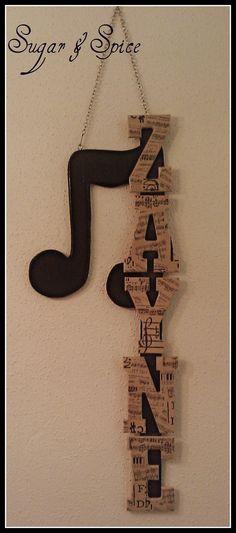 Black & Tan Music Themed Children's Name Hangings / Wall Art / Letters. $5.50, via Etsy.