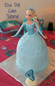 Elsa Doll Cake Tutorial - if you're planning a Disney Frozen birthday party, this Elsa doll cake makes a beautiful centerpiece. The best part? My tutorial only calls for 1 bowl, not multiple pans!