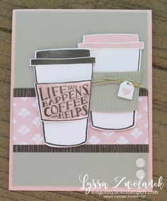 Coffee Bean Cafe Break Time scrapbooking papers DIY cardmaking cup Stampin Up shop with Lyssa