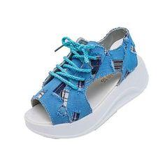 Denim Wedges Sandals