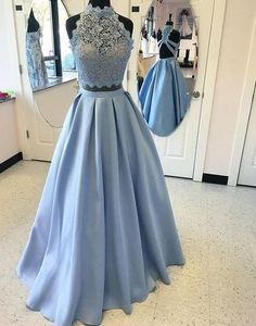 Blue two pieces high neck A-line backless special high quality long fl