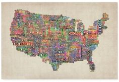 Over 60% off!!!  Trademark Global 'US Cities Text Map VI' Canvas Art by Michael Tompsett
