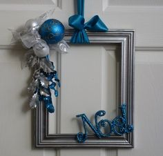 Picture Frame Wreath Silver White by badcandystudios. Silver Christmas Decorations, Christmas Frames, Simple Christmas, Winter Christmas, Christmas Gifts, Christmas Door, Beautiful Christmas, Picture Frame Wreath, Picture Frame Crafts