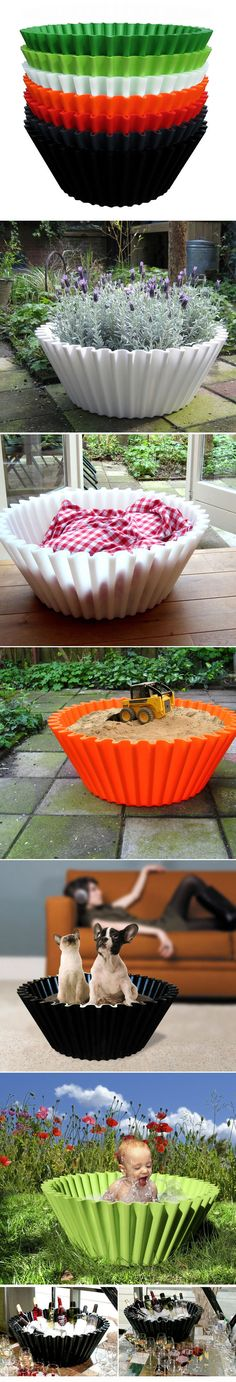 """Sweet Cake by Beerd van Stokkum: A gigantic cupcake liner made of polyethylene with multiple applications and available in a variety of colors! 28""""dia (top) x 11""""(height). $399."""