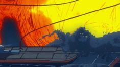 「キルラキル」 23話 20150102150155  水エフェクト作画。橋本敬史さんのようにフォルム全体で魅せる人もいれば、こういう風にきめの細かい作画(波全体でフォルムが決まっておらず、無作為)で水を表現をする人もいる。緻密なディテールに合わせ、海の波というリアルさもある作画。バシバシ動く波しぶきもいいんだけど、画面手前にやってくる波が良い。これによって、画面のスケール感を増している。