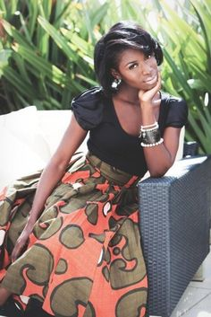 Just my style! Gorgeous Ankara skirt with black top