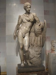 Ganymede with the Eagle. Roman, after Greek original from the Prasiteles school of 3rd century BC. Marble. Hermitage Museum, St Petersburg