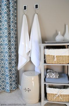 I like the idea of a little stool (for sitting!!) in the bathroom. haha ... the other kind of stool can get flushed away!