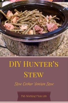 DIY Hunter's Stew aka Slow Cooker Venison Stew - Meat Recipes Deer Recipes, Stew Meat Recipes, Slow Cooker Recipes, Cooking Recipes, Game Recipes, Deer Meat Recipes Ground, Rabbit Recipes, Crockpot Venison Recipes, Venison Meals