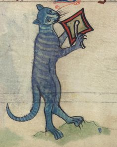 """""""Book of Hours"""" (England, c. 1300): Cat beating cymbal (from a marginal cycle of images of the funeral of Renard the Fox), Walters Manuscript W.102, fol. 78v (detail)"""