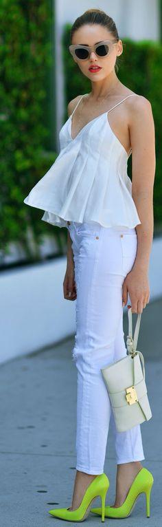 Street fashion | Cat eye sunglasses, peplum top and neon heels