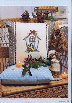 Gallery.ru / Photo # 57 - Anna 2015-01 - WhiteAngel Xmas Cross Stitch, Cross Stitch Pillow, Cross Stitching, Cross Stitch Patterns, Christmas Animals, Christmas Cross, Christmas Ornaments, Diy Pillows, Decorative Pillows