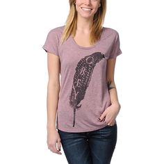Obey Light As A Feather Heather Pink Mock Twist Tee Shirt