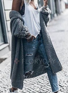 Ideas fashion teenage winter sweaters long sleeve for 2019 Loose Sweater, Sweater Coats, Winter Sweaters, Long Sweaters, Long Sleeve Sweater, Coats For Women, Clothes For Women, Mode Chic, Winter Mode
