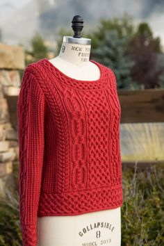 Uplands Aran, a beautiful, ornate sweater by Bonnie Dean for Chief Left Hand Knits.
