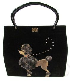 Vintage 50s 60s Black Velvet Poodle Handbag With Textured Dog Rhinestones Purse