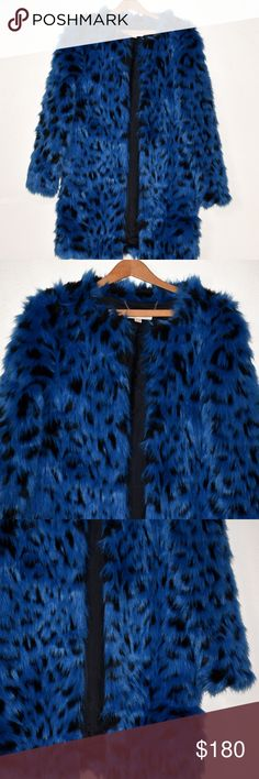 Michael Kors Blue Faux Fur Coat, Size S This is a Michael Kors Faux-Fur Cheetah Print Coat in perfect condition, never worn. There are buttons, but are a bit hidden in the fur. Was originally $295.   Size: Small  Shoulder to Shoulder: 30 inches  Armpit to Armpit: 36 inches  Length: 32 inches  Please let me know if you have any questions! MICHAEL Michael Kors Jackets & Coats