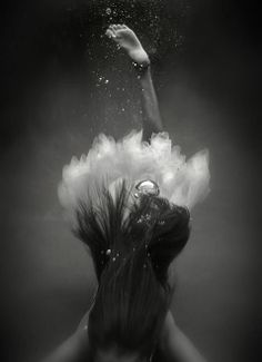 liquid, water, foot, hair, diving, woman, female, bobbles, amazing, photo b/w.