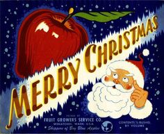 Wenatchee, Washington Merry Christmas Santa Claus  Apple Crate Label Art Print