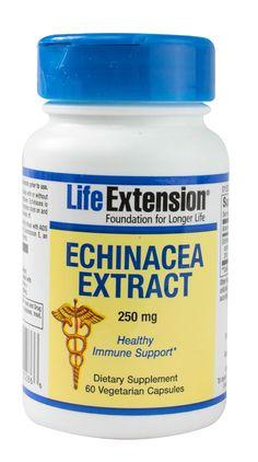 """Extrato de Echinacea Life ExtensionEcchinacea Purpurea é um dos Fitoterápicos mais efetivos para aumento da resposta imune.  Sua propriedades medicinais são antibacteriana, antibiótico, antiviral, antisséptica, anti-inflamatória, antimicrobiana, imunoestimulante, fortificante, sendo Muito melhor do que """"antigripais"""" para melhora dos sintomas e abreviação do ciclo dos resfriados, além de ter uma ação extremamente efetiva na prevenção das crises de Herpes."""