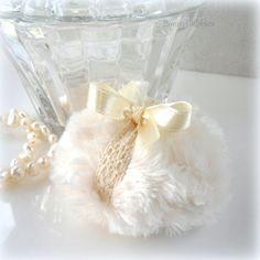 La Petite Lace Powder Puff  soft creamy ivory and by BonnyBubbles, $10.50