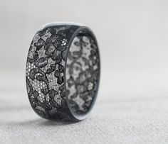Black Lace Resin Bangle Bracelet Vintage French Lace Wide Cuff OOAK neutral rustic dark gothic jewelry rusteam on Etsy, $68.53 CAD
