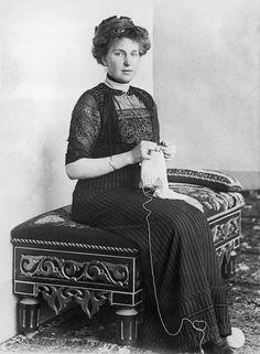 Queen Victoria Eugenia of Spain, granddaughter of Queen Victoria and Prince Albert, knitting circa 1914.