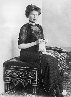 Queen Ena of Spain, granddaughter of Queen Victoria and Prince Albert, knitting circa 1914.