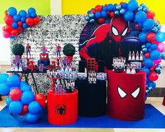 Spiderman Theme Party, Superman Birthday Party, Avengers Birthday, Birthday Candy, 6th Birthday Parties, Third Birthday, Boy Birthday, Balloon Decorations Party, Birthday Party Decorations