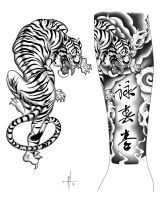 DeviantArt: More Like Japanese tattoo style Tiger by TheTrueFoldedSteel Tiger Face Tattoo, Tiger Tattoo Sleeve, Tiger Tattoo Design, Tattoo Designs, Classy Tattoos For Women, Trendy Tattoos, Tattoos For Guys, Classy Women, Tigergesicht Tattoo