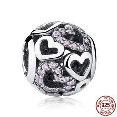 New 925 Sterling Silver Falling In Love Heart Openwork Charm Bead With Pink CZ Fit Original Pandora Bracelet Authentic Jewelry Pandora Beads, Pandora Bracelets, Pandora Charms, Charm Bracelets, Pandora Jewelry, Pandora Original, Argent Sterling, Sterling Silver, Valentines Jewelry