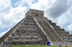 "Our certified guides will take you to the massive Kukulkan pyramid, ""El Castillo"" (the castle), which is located roughly at the center of the site. Its construction was planned so that during each Vernal Equinox the setting sun would cast a shadow of a serpent (the Mayan God Kukulkan) slithering down the steps of the pyramid."