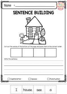 Free Sentence Building Free Sentence Building by Miss Faleena Teachers Pay Teachers Writing Worksheets, Kindergarten Worksheets, Matching Worksheets, Sentence Building, Sentence Writing, Writing Sentences, Thinking Skills, Preschool Kindergarten, Writing Skills