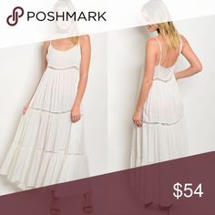 Off-White Spaghetti Strap Crochet Panel Maxi Dress New with tags. Gorgeous maxi dress.                                                                  🌸100% rayon.                                                                         🌺PRICE IS FIRM UNLESS BUNDLED.                                     ❌SORRY, NO TRADES. Boutique Dresses Maxi