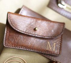 Saddle Leather Business Card Holder #potterybarn, wedding party gift