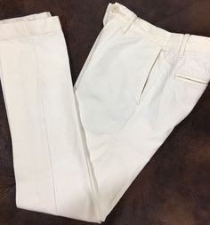 J Crew Ludlow 484 Fit Pants Size 28 32 Flat Front Ivory Natural 100% Cotton  | eBay