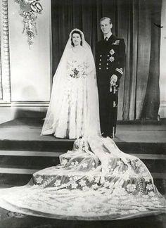 1947-11-20 Elisabet ja Philip menivät naimisiin 69 vuotta sitten.