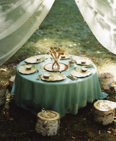 aww, make a tree stump tea party area for a little girl...