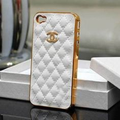 chanel iphone case -- white leather with gold chanel logo iphone 4 case -- case for iphone 4/4s/4g. $13.00, via Etsy.