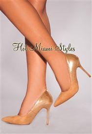 Tan Faux Suede Gold Glazed High Heel Pumps