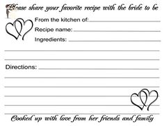 Wedding Recipe Cards Black Hearts Design 40 Cards - Wedding favors (*Amazon Partner-Link)