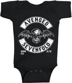 Avenged Sevenfold Deathbat Black One Piece - My Baby Rocks www.punkbabycloth... www.mybabyrocks.com #mybabyrocks #punkbabyclothes #baby